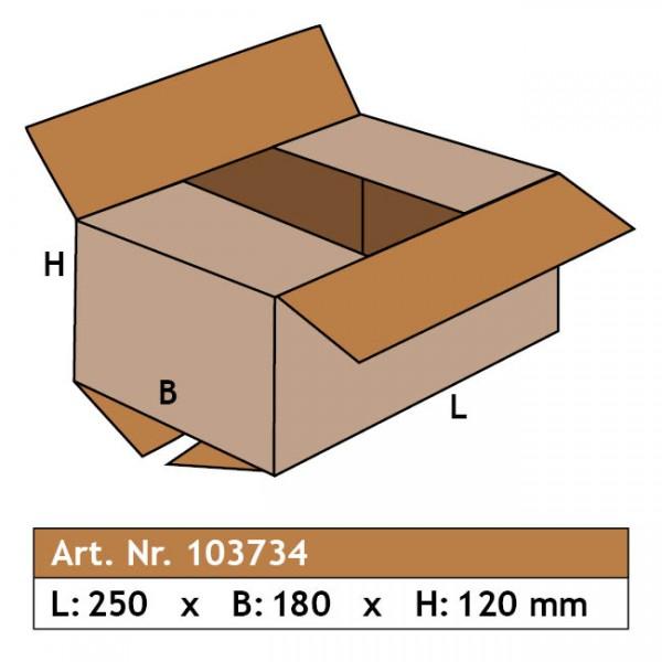Karton 250 x 180 x 120, 1-wellig